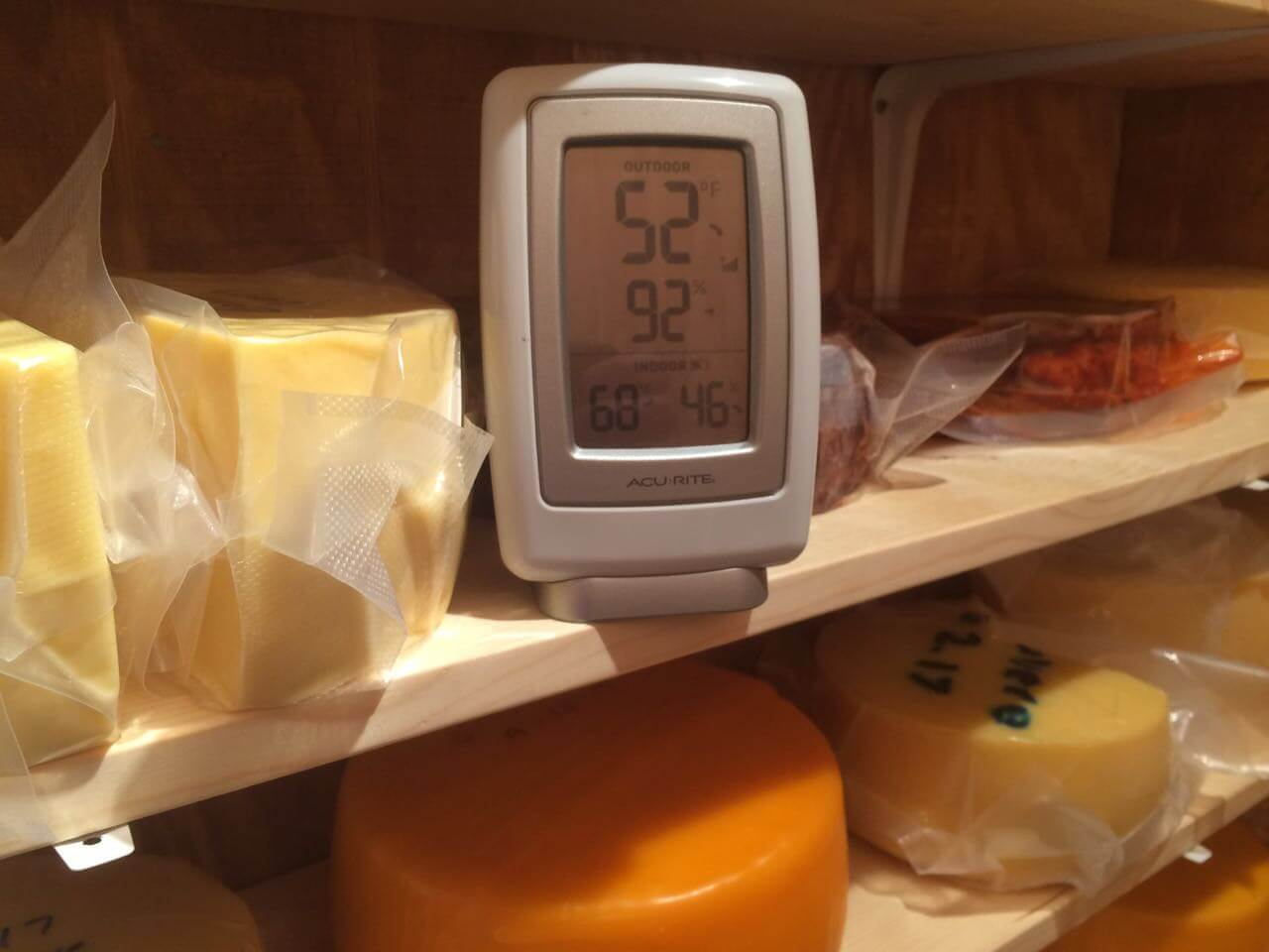 Humidity and temperature perfect in the new cheese cave.